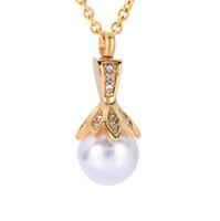 ingrosso disegni perla nera-ZZL132 Fashion New Design Collana regalo donna argento, oro, nero e oro rosa portacandele perla pendente cremazione fiore gioielli