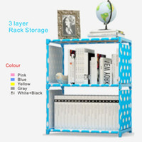 Wholesale Shoes Frame - New 3 layer Rack Storage Simple book storage frame,5 colors,Thickened stainless steel pipe, film covered waterproof nonwoven fabric.