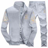 Wholesale joggers suits for sale - Group buy Autumn Mens Sweat Suits Sets Jogger Jackets with Pants Suit Hip Hop Black Gray Designer Tracksuits