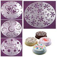 doğum günü pastası dekorasyon araçları toptan satış-Çevre Dostu Yüksek Kalite 4 Styles Çiçek Kalp Şablonlar Birthday Cake Kalıp Dekorasyon Ekmek Araçları DIY Sprey