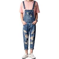 плюс подтяжки комбинезонов оптовых-MORUANCLE Men Fashion Distressed Jeans Jumpsuits Ripped Denim Bib Overalls Destroyed Suspender Pants For Man Plus Size S-5XL