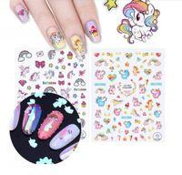 Wholesale heart transfers - Unicorn series nail decoration kit adhesive 3D nail sticker colorful rainbow stars heart nail art transfer stickers