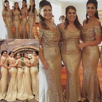 vestidos de dama de honor junior para boda en la playa al por mayor-Champagne Gold Sequins Vestidos de dama de honor Estilo campestre Off Shoulder Beach Junior Wedding Party Vestido de dama de honor Vestido de dama de Honor