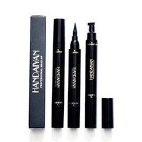 ingrosso timbro lungo-HANDAIYAN Liquid Eyeliner Timbro Matite Long Lasting impermeabile Black Eye Liner sigillo timbro a due punte 2 in 1 eyeliner 60 pz