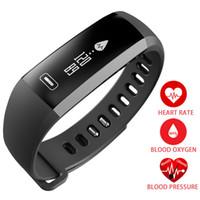 alarma de fitness al por mayor-R5PRO Pulsera Inteligente IP67 Rastreador de Fitness Relojes Band Monitor de Ritmo Cardíaco Contador de Pasos Reloj Despertador Muñequera pk fit bit