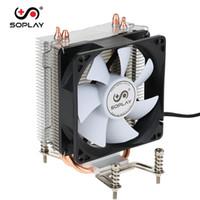 Wholesale Intel Computer Motherboard - SOPLAY for Intel AMD CPU Cooler 2 Heatpipes 3pin 9.2cm Fan PC Desktop Computer CPU Cooling Radiator Fan for motherboard memorys