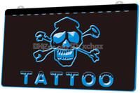 tatuagem aberta venda por atacado-[F111] Tattoo Open NEW 3D Gravura LED Light Sign Personalizar sob demanda 8 cores