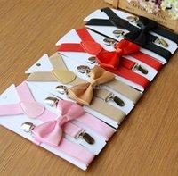 sütyen askısı toptan satış-28 Renkler Çocuklar Ayarlanabilir katı Suspenders bebek Kravat + Braketler 2pcs / set Kid Askılar kemer 2.5 * 65cm C2341