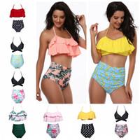 Wholesale High Waisted Bikini - 2018 high waisted bikini top and bottom For Women Padding Bra Flowing Ruffle Halter Top Swimsuits