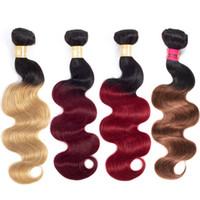 12 inç ombre saç uzantıları toptan satış-Ucuz Vücut Dalga Ombre Saç Demetleri Brezilyalı Virgin Remy İnsan Saç Uzantıları 3 Paketler Deal T1B / 99J / Kırmızı / Bloned Ombre Saç Demetleri