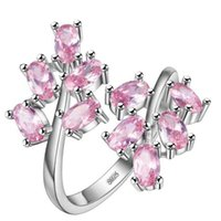 Wholesale Ring Pink Topaz - New Arrival Fashion 925 sterling silver jewelry pink ring stone KJ681