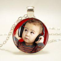 regalos papás al por mayor-Imagen personalizada Colgante Cualquier cosa Collar de fotos personalizado Su bebé Niño Mamá Papá Abuelo Amor Regalo para regalo familiar