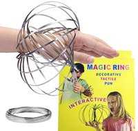 Wholesale Toroflux Flow Rings INCH Stainless Steel Kinetic Spring Metal SUS Toroflux Magic Flow Ring D Sculpture Ring Interactive Toys DHL