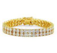 ingrosso uomini di gioielli-2018 18 k placcato oro uomini fascino diamante simulato Miami bracciali cubani ghiacciato fuori bling strass catene gioielli hip hop mens jewerly KKA1968