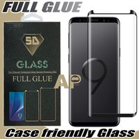 Wholesale retail packages - Full Adhesive Glue Case Friendly Tempered Glass 3D Curved For Samsung Galaxy S9 Note 8 S8 Plus With Retail Package