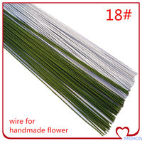 Wholesale hand making paper flowers - Free shipping Paper coated Green Iron Wire For DIY Nylon flower   Flower Material hand-made DIY 18# 50cm length   80pcs lot