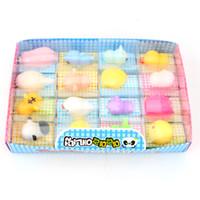 domuz tavşan oyuncak toptan satış-16 Adet / kutu Mochi Squishy Kawaii Hayvan Yavaş Yükselen Panda / kaplan / domuz / koyun / ördek / tavşan / civciv Sevimli Telefonu Sapanlar Çocuk Oyuncak