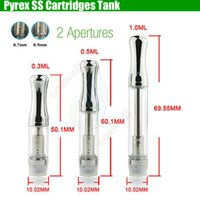 Wholesale Stainless Wax - Pyrex CE3 Cartridges Vaporizer BUD Touch Stainless steel drip glass tube thick wax Atomizer 510 O pen CE3 Waxy vapor Mini e cigs vape Tank