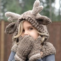 Wholesale crochet baby gloves for sale - Group buy kids Elk Hooded Hat Scarf Gloves in Winter Wool Hat Baby Warm Knitting Caps Hooded Hat Knitting Caps Girls Accessory KKA5993