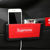 münzenhalter für autos großhandel-Kohlefaser Stil Auto Aufbewahrungsbox Handyhalter Weich-PVC Material Organizer Tasche Kartenhalter Münzenhalter Verstauen