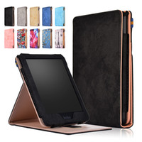 Wholesale magnet covers tablet resale online - Multi Angle Stand Flip PU Leather Cover Print Solid Color Magnet Smart Book Case With Hand Belt For Kobo Clara HD inch Tablet E Book