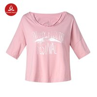estilo de yoga coreano al por mayor-Algodón estilo coreano suelta tops de cosecha camiseta kawaii camiseta ONeck manga corta Sexy Summer Women camiseta deportiva Impreso yoga top