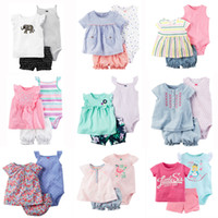 Wholesale baby cartoon romper suit - Newborn Baby Rompers Suits 100% Cotton 22 Designs Colorful Striped Embroidery Flora Cartoon Dots T-Shirt+Triangle Romper+Shorts 3 pcs lot