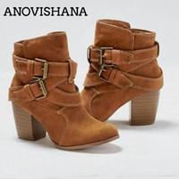 mujer vaquera al por mayor-ANOVISHANA Mujeres westrern botas femeninas anle botas para las mujeres auntumn Botines cortos de invierno botas de vaquero mujer H201