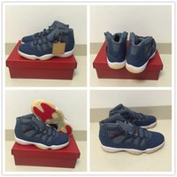 Wholesale Jeans For Cheap - 2018 High quality for Cheap Casual 11 XI Denim NRG x Designer Blue Jeans Basketball Shoes Men 11s Flight Trainers Sports Sneakers Size 40-47