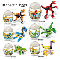 Wholesale other buildings - Dinosaur Building Blocks Cartoon Bricks Dinosaur Eggs Mini Figures Kids Children Capsule Toys Gifts 6 Styles 120pcs Party Favor AAA637