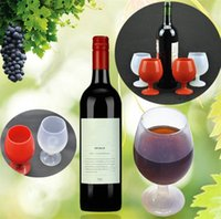 Wholesale wine glasses stand for sale - Group buy Silicone Goblet Wine Glass Portable Standing Unbreakable Stemless Beer Whiskey Cups For Outdoor Camping wine cup Drinking Cup I251