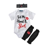 Wholesale baby white lips online - Baby letter printing romper pc sets bow headband short sleeve white romper Red Lips printing black leg warmers cute ins hot newborns cloth
