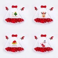 weihnachten lange socken großhandel-Neue Mädchen Weihnachten Kleid mit Haarband Strampler Rock Baumwollspitze Rand Baum Socken Hirsch Gedruckt 0-24 Mt Langarm