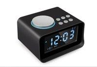 enchufes super grandes al por mayor-Altavoz Bluetooth con dos despertadores y pantalla LCD súper grande, pantalla de temperatura, interfaz auxiliar de radio FM Plug-in eléctrico P
