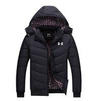 brocado chino azul al por mayor-2018 invierno nuevos hombres abrigo largo de algodón algodón de alta calidad LOGO chaqueta suelta gruesa capa cálida de los hombres