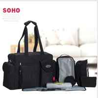 Wholesale gym baby pad - SoHo diaper bag City Carry all 9 pieces nappy tote bag for baby mom Maternity Baby Diaper Tote Bag with Changing Pad LJJK932