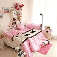 beds doubles Canada - fresh princess style pink linens black lace border bedskirt sets Twin Single Double Full Queen King size bedding sets