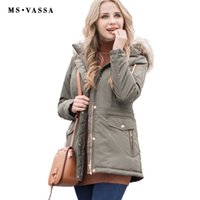 Wholesale Women Nice Winter Coats - MS VASSA Women Parkas Autumn Winter Ladies jacket army green coat nice fake fur removable hood plus size 5XL 7XL outerwear