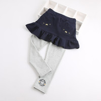 Wholesale baby animal leggings pants for sale - Cute cartoon kitten girl skirt pants fake two pieces cotton spring and autumn pants female baby leggings skirt