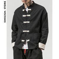 schwarzer knopf windjacke großhandel-Sinicism Store Mann Windbreaker 2018 Mens Casual Tasche Schwarz Solid Bomber Jacke Männlich Harajuku Button Retro Fashion Jacke