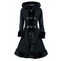 siyah boynuz düğmeleri toptan satış-Kinikiss Kadınlar Kürk Kapşonlu Palto Kış Sıcak Zarif Boynuz Düğme Siper Palto Lady Lace Up Siyah Gotik Vintage Uzun Palto