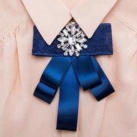 Wholesale Snow White Shirts - Bow Pin Brooches for Women 2018 new tussores multilayer snow Brooch Wedding Dress Shirt Brooch Pin Handmade Accessories Good Gift wholesale