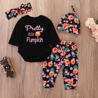 Wholesale kids winter outfits sets for sale - Group buy Pumpkin Floral Halloween Infants Letters Outfits for kid Girls boys Long Sleeve Romper With Pant Hat Headband set Autumn