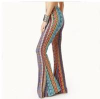 Wholesale legging aztec - American Clothing Tribal Vertical Aztec print Bell Bottom Legging Soft Women Flare pant Wide leg Printed Legging 2018