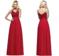 vestido vermelho longo chiffon designer venda por atacado-2018 Nova Chegada Designer de Noite Vestidos de Baile Vermelho Cintas de Espaguete Frisada Top Chiffon Longo Vestidos de Festa CPS871