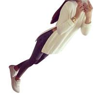 blusas de pescoço de algodão para mulheres venda por atacado-MUQGEW Nova Moda Criativa Branco Das Mulheres de Manga Longa Camisola de Malha Camisola De Malha Cardigan de Algodão Mistura Tripulação Pescoço Tricô