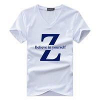 Wholesale men wholesale v necks - Homme T-Shirt Believe in yourself Letter Printing Men Summer V-neck Basic Short T Shirt Casual Tee Size S-5XL