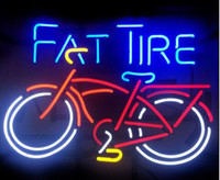 Wholesale Lighted Tire Signs - Custom New Fat Tire Bicycle Real Glass Neon Sign light Beer Bar Sign Send need photo 19x15""