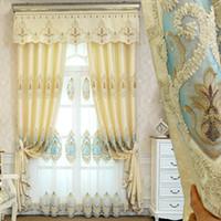 fenêtres insonorisées achat en gros de-Salon européen moderne simple chambre à coucher isolation phonique étage fenêtre spécial broderie rideau tissu produit fini