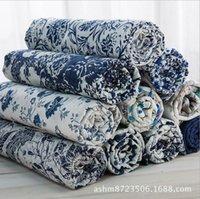 tecido de porcelana branca azul venda por atacado-Azul E Branco Porcelana Estilo Roupas Vestidos de Linho De Algodão Tecido Toalha De Mesa Para Casa Decorativa Tissu Têxtil De Costura 2022BL